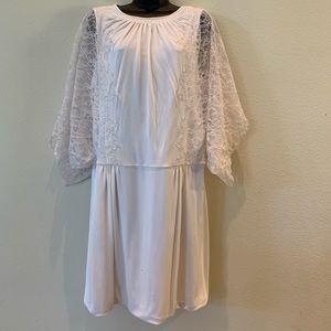 BCBG Max Azria White Lace Bell Sleeve Dress